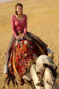 Emily on her camel, Moses - Giza, Egypt ... November 20, 2006 ... Photo by Rob Page III