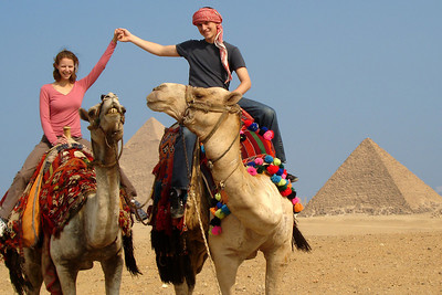 Rob and Emily by the pyramids - Giza, Egypt ... November 20, 2006