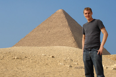 Rob and the pyramid of Khufu - Giza, Egypt ... November 20, 2006 ... Photo by Emily Conger