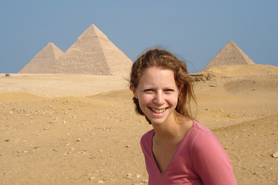 Emily and the Egyptian pyramids - Giza, Egypt ... November 20, 2006 ... Photo by Rob Page III