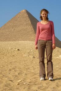 Emily and the Pyramid of Khufu - Giza, Egypt ... November 20, 2006 ... Photo by Rob Page III