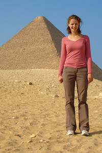 Emily and the Pyramid of Khufu - Giza, Egypt ... November 20, 2006 ... Photo by Rob Page III