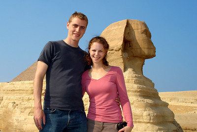 Rob and Emily with the Sphinx - Giza, Egypt ... November 20, 2006