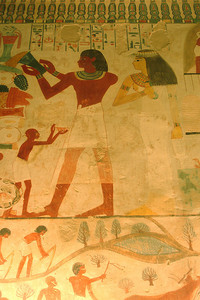 Some of the colorful wall paintings showing rural life in the Tombs of Menna & Nakht - Gurna, Egypt ... November 23, 2006 ... Photo by Rob Page III
