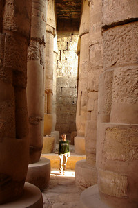 Emily inside the Great Hypostyle Hall.  She is a little dwarfed by the columns - Luxor, Egypt ... November 24, 2006 ... Photo by Rob Page III