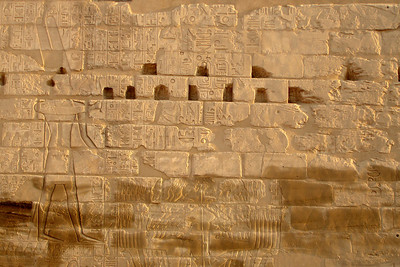Hieroglyphics on the walls of Karnak - Luxor, Egypt ... November 24, 2006 ... Photo by Rob Page III