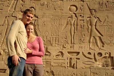 Rob and Emily with some hieroglyphics - Luxor, Egypt ... November 24, 2006 ... Photo by Rob Page III