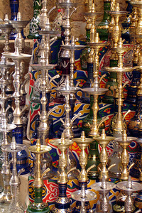 Some of the hookahs in the store fronts in Khan al Khalili - Cairo, Egypt ... November 21, 2006 ... Photo by Rob Page III