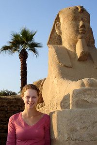 Emily and one of the sphinxes - Luxor, Egypt ... November 24, 2006 ... Photo by Rob Page III