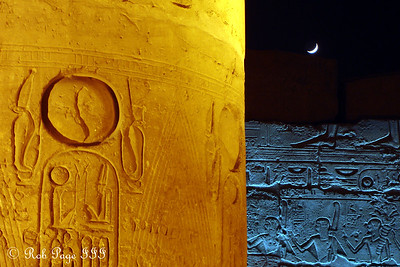 The moon and heiroglyphics - Luxor, Egypt ... November 24, 2006 ... Photo by Rob Page III