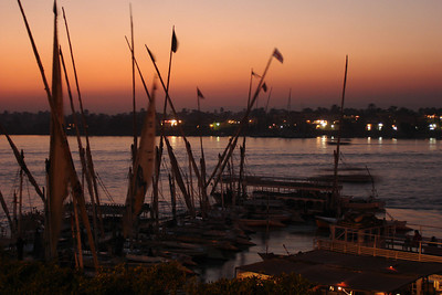 Sunset on the Nile - Luxor, Egypt ... November 24, 2006 ... Photo by Emily Conger