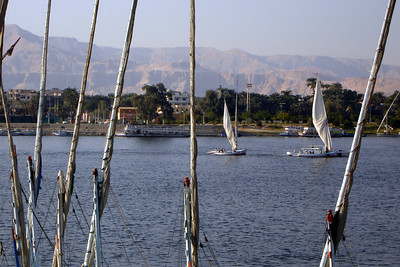 Feluccas on the Nile - Luxor, Egypt ... November 24, 2006 ... Photo by Rob Page III