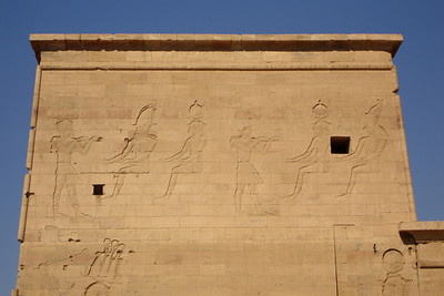 The scratched out images on one of the walls of Philae - Aswan, Egypt ... November 25, 2006 ... Photo by Rob Page III
