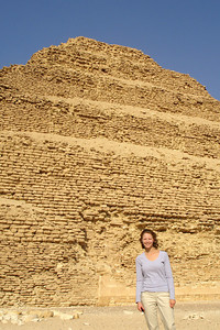 Emily in front of the Zoser's pyramid - Saqqara, Egypt ... November 28, 2006 ... Photo by Rob Page III