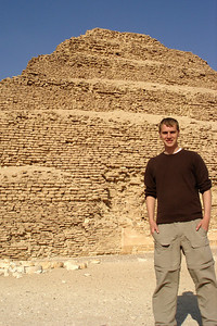 Rob in front of the stepped-pyramid of Zoser - Saqqara, Egypt ... November 28, 2006 ... Photo by Emily Conger