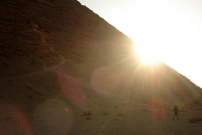The sun sets behind the Red Pyramid - Dashur, Egypt ... November 28, 2006 ... Photo by Rob Page III
