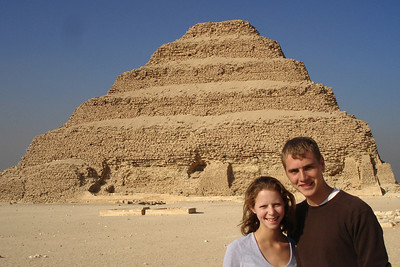 Rob and Emily in front of the stepped-pyramid of Zoser - Saqqara, Egypt ... November 28, 2006 ... Photo by unknown
