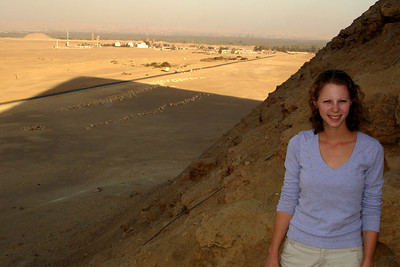 Emily on the Red Pyramid as the sun sets - Dashur, Egypt ... November 28, 2006 ... Photo by Rob Page III
