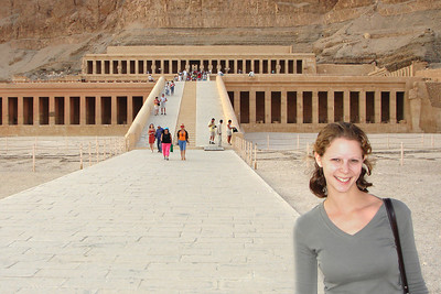 Emily in front of the temple of Hatshepsut.  Hatshepsut was the fifth pharaoh of the Eighteenth dynasty of ancient Egypt - Valley of the Kings, Egypt ... November 23, 2006 ... Photo by Rob Page III