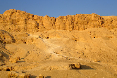 Looking up at the hills and cliffs that line the pathway to the Temple of Hatshepsut - Gurna, Egypt ... November 23, 2006 ... Photo by Rob Page III