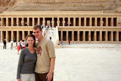 Rob and Emily in front of the temple of Hatshepsut.  Hatshepsut was the fifth pharaoh of the Eighteenth dynasty of ancient Egypt - Valley of the Kings, Egypt ... November 23, 2006