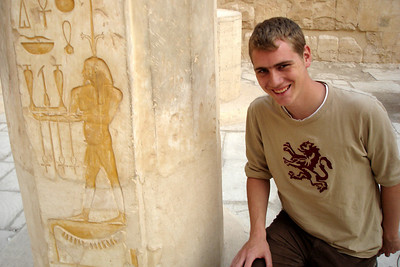 Rob at the temple at Deir el-Bahri  - Valley of the Kings, Egypt ... November 23, 2006 ... Photo by Emily Conger