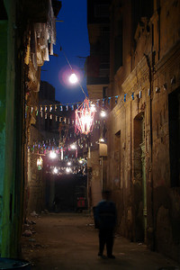 The backstreets of Cairo at night still decorated from a recent festival - Cairo, Egypt ... November 21, 2006 ... Photo by Rob Page III