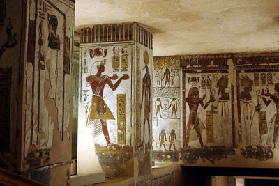 The very detailed paintings on the walls of the tomb of Ramses III - Valley of the Kings, Egypt ... November 23, 2006 ... Photo by Rob Page III