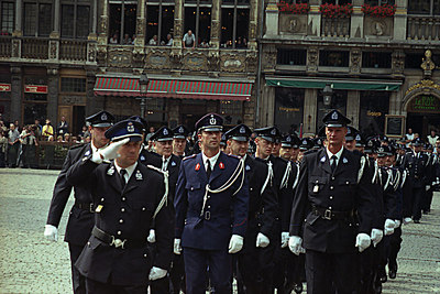 A police parade in Brussels, Belgium ... June 27, 2001 ... Photo by Rob Page III