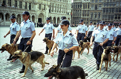 A police parade with attack dogs in Brussels, Belgium ... June 27, 2001 ... Photo by Rob Page III