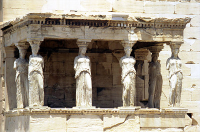 Some of the maidens of Caryatids at the Erechtion of the Acropolis - Athens, Greece ... July 18, 2001 ... Photo by Rob Page III