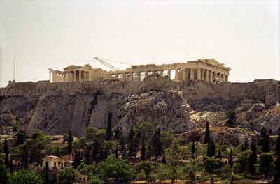 The Parthenon anchors the Acropolis and is under renovation for the Olympic games in 2004 - Athens, Greece ... July 18, 2004 ... Photo by Rob Page III