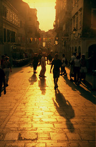Sunset in the streets - Corfu, Greece ... July 17, 2001 ... Photo by Rob Page III