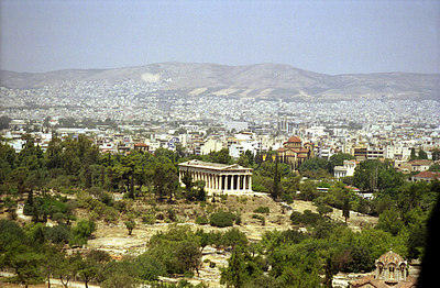 Temple of Hephaistos of Agora with Athens spreading behind it - Athens, Greece ... July 18, 2001 ... Photo by Rob Page III
