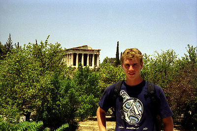 Rob and the Temple of Hephaistos - Athens, Greece ... July 18, 2001 ... Photo by unknown tourist