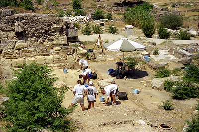 Digging in the ruins near the Agora - Athens, Greece ... July 18, 2001 ... Photo by Rob Page III