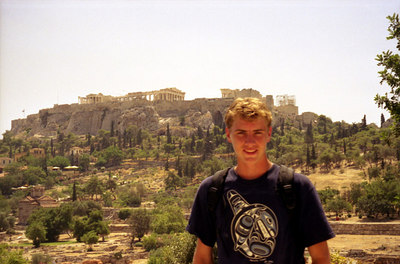 Rob with the Acropolis rising behind - Athens, Greece ... July 18, 2001 ... Photo by unknown tourist