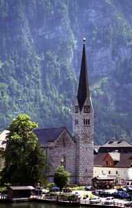 The main church in Hallstatt, Austria. ... June 30, 2001 ... Photo by Rob Page III