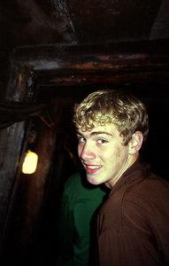 Rob descending into the mine - Hallstatt, Austria. ... June 30, 2001 ... Photo by unknown