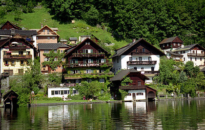Some of the houses of Hallstatt, Austria. ... June 30, 2001 ... Photo by Rob Page III