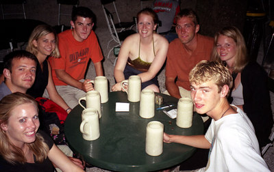 Some of the friends I made at the Yoho Youth Hostel in Salzburg, Austria.  This is at the Augustine Beer Haul and I still have the mug. ... June 29, 2001 ... Photo by the waiter