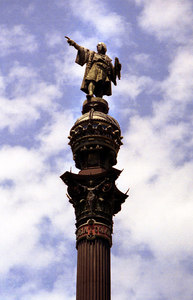 A statue to Christopher Columbus, the discoverer of America - Barcelona, Spain. ... July 5, 2001 ... Photo by Rob Page III