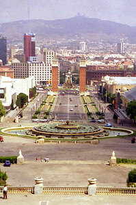Plaça Espanya from the Palau Nacional building - Barcelona, Spain. ... July 5, 2001 ... Photo by Rob Page III
