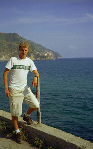 Rob with Manarola, Cinque Terre in the background - Italy. ... July 9, 2001 ... Photo by unknown