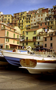 The boats for the fishermen of Manarola, Cinque Terre - Italy. ... July 10, 2001 ... Photo by Rob Page III