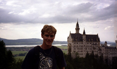 Rob and Neuschwanstein.  Germany's fairytail castle in Fussen, Germany built by King Ludwig. ... July 1, 2001 ... Photo by Rob Page III