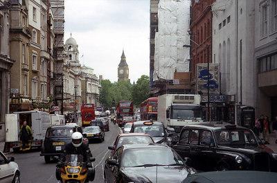 Looking south from Trafalgar Square towards Big Ben. ... June 18, 2001