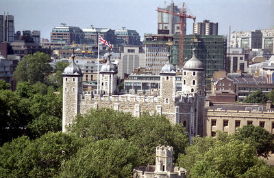 The Tower of London from the Tower Bridge. ... June 21, 2001 ... Photo by Rob Page III