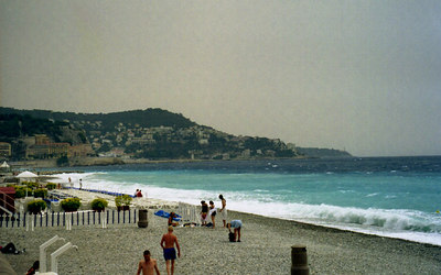 The silky sand, I mean stoney, beaches of Nice, France. ... July 6, 2001 ... Photo by Rob Page III
