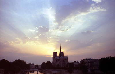 Notre Dame at sunset - Paris, France ... June 26, 2001 ... Photo by Rob Page III